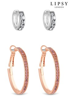 Lipsy Jewellery Two Tone Crystal Baguette Hoop Earrings – Pack of 2