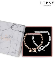 Lipsy Jewellery Two Tone Crystal Bar Toggle Bracelet – Pack of 2 Gift Box