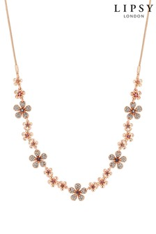 Lipsy Rose Gold Plated Flower Short Necklace