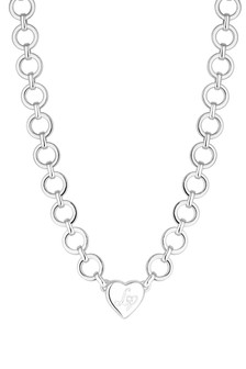 Lipsy Jewellery Crystal Heart Charm Chain Short Necklace