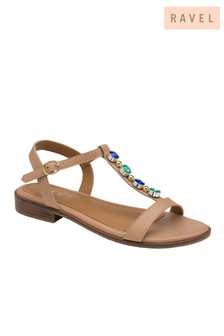 Ravel Leather Flat Sandals