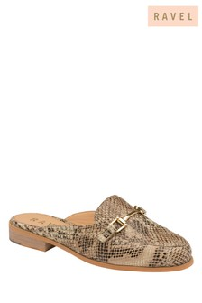 Ravel Snake-Print Leather Backless Loafers