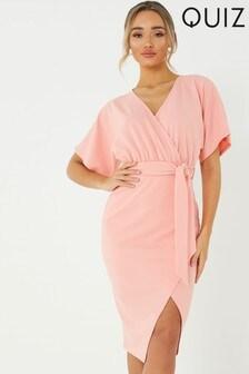 Quiz Batwing Sleeve Wrap Midi Dress