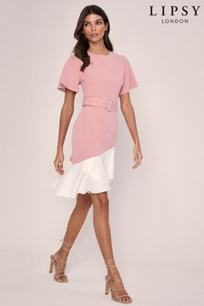 Lipsy Flutter Sleeve Belted Midi Dress
