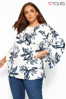 Yours Curve Necklace Detail Tropical Cape Top