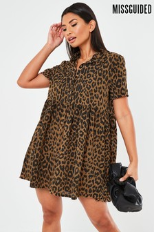 Missguided Leopard Shirt Smock Dress