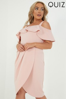 Quiz Curve Frill Bardot Wrap Dress