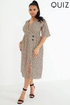 Quiz Curve Leopard Print Midi Dress