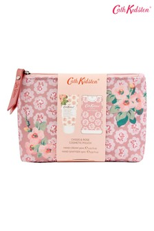 Cath Kidston Freston Cassis & Rose Cosmetic Pouch with Hand Cream and Hand Sanitiser