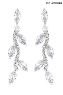 Jon Richard Silver Plated Pave Wave Leaf Drop Earrings