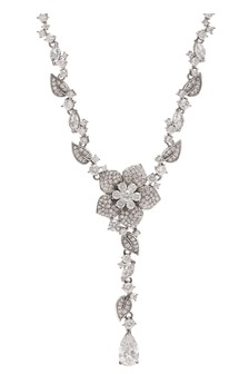 Jon Richard Silver Plated Cubic Zirconia Flower Necklace