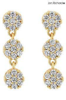 Jon Richard Gold Fine Pave Tennis Multidrop Earrings