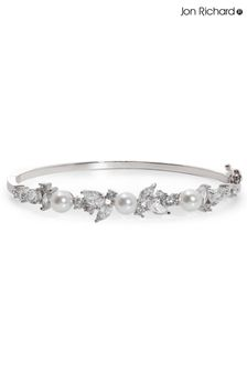 Jon Richard Silver Plated Pearl & Cubic Zirconia Classic Bangle