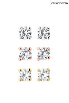 Jon Richard Cubic Zirconia Stud Earring - Pack Of 3