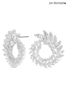 Jon Richard Silver Plated Clear Large Wreath Stud Earring