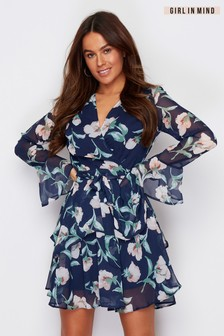 Girl In Mind Fluted Sleeve Floral Wrap Dress