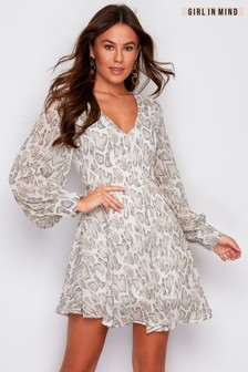 Girl In Mind Balloon Sleeve Metallic Stripe Snake Print Dress