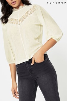 Topshop Lace Insert Top