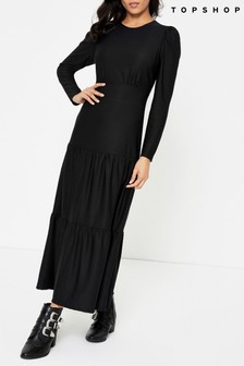 Topshop Black Long Sleeve Tiered Midi Dress