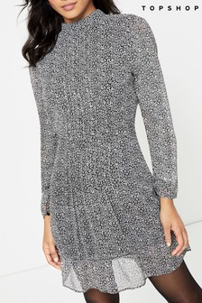 Topshop Leopard Pintuck Mini Dress