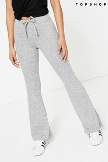 Topshop Tie Rib Marl Flare Trouser