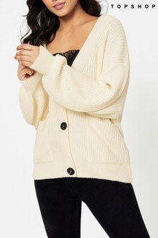 Topshop Oat Midi Knitted Cardigan