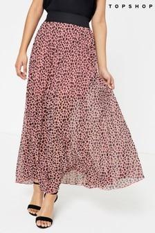 Topshop Pink Animal Spot Print Pleated Midi Skirt