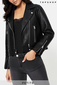 Topshop Petite Faux Leather Biker Jacket