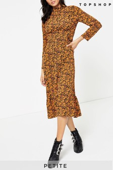Topshop Petite Multicoloured Floral Print Midi Dress