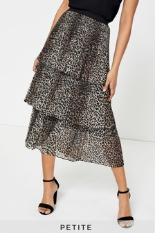 Topshop Petite Leopard Print Tiered Pleated Skirt