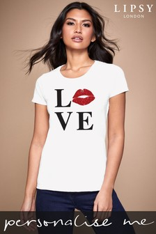 Personalised Lipsy Love Kiss Lips Women's T-Shirt by Instajunction