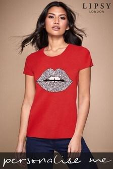 Personalised Lipsy Glitter Lips Script Women's T-Shirt by Instajunction