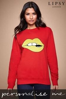 Personalised Lipsy Biting Glitter Lips Women's Sweatshirt by Instajunction