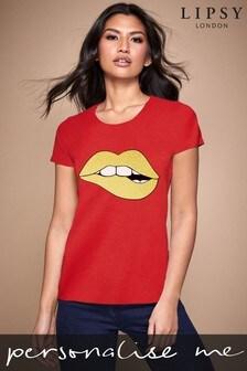 Personalised Lipsy Biting Glitter Lips Script Women's T-Shirt by Instajunction