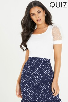 Quiz Ribbed Scoop Neck Polka Dot Puffed Sleeves T Shirt