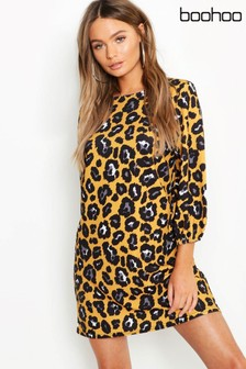 Boohoo Leopard Print High Neck Blouson Sleeve Shift Dress
