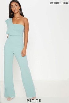 PrettyLittleThing Petite Mint Drape One Shoulder Jumpsuit