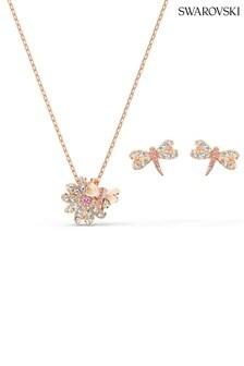 Swarovski Eternal Flower Dragonfly Pink Rose Gold Plated Set