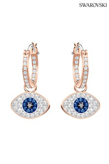 Swarovski Symbolic Eye Hoop Pierced Rose-Gold Tone Plated Earrings