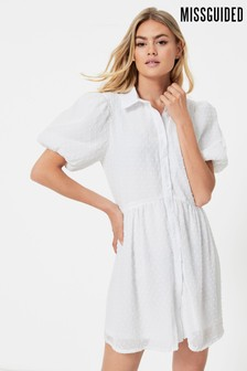 Missguided Puff Sleeve Shirt Smock Dress