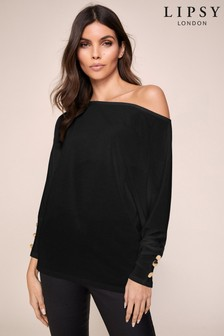 Lipsy Button Cuff Slash Neck Top