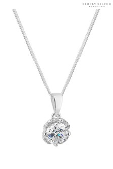Simply Silver Sterling Silver 925 White Cubic Zirconia Carded Boxed Short Pendant Necklace