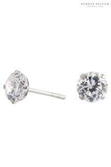 Simply Silver 925 6mm Round Cubic Zirconia Stud Earring