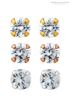 Simply Silver 925 Tri -Tone Cubic Zirconia Stud Earring - Pack of 3