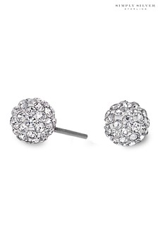 Simply Silver Sterling Silver 925 6mm Pave Ball Studs