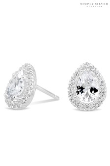 Simply Silver Sterling Silver 925 Cubic Zirconia Peardrop Cluster Stud Earring