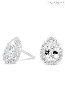 SimplySilverSterlingSilver925 Cubic Zirconia Peardrop Cluster Stud Earring