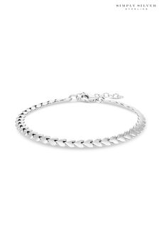 Simply Silver Sterling Silver 925 Heart Row Bracelet