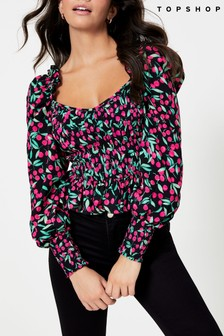 Topshop Cherry Print Shirred Puff Sleeve Blouse