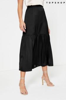 Topshop Tiered Satin Midi Skirt